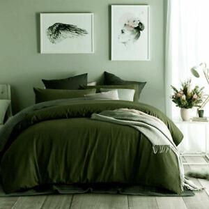 Accessorise Olive Green - Cotton Waffle Quilt Doona Cover Set DOUBLE QUEEN KING