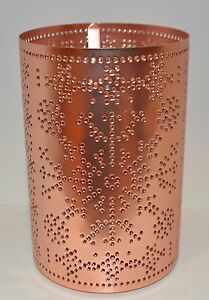 BATH BODY WORKS COPPER HURRICANE METAL SMALL CANDLE HOLDER SLEEVE LUMINARY NEW
