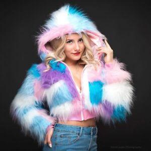 Funki-B fluffy faux fur long pile pastel patchwork coat lined jacket hoody crop