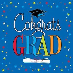 Congrats Star Grad Graduation Blue 16 ct Lunch Napkins