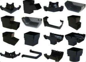 Black Square Line 112mm Plastic UPVC Guttering 68mm Downpipes Rainwater Fittings