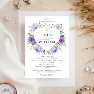 10 Wedding Invitations Day/Evening Purple Roses Heart