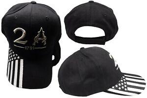 2A 2nd Amendment 1791 USA Flag On Bill Embroidered Black White Cap Hat