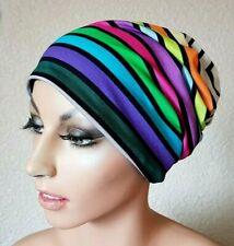 Long Beanie Chemo Mütze Damenmütze Softcap Wendemütze Streifen weiß bunt Aya