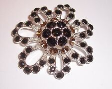 VINTAGE     ''  MULTI COLOR RHINESTONE FLOWER   ''   BROOCH PIN