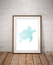 Under The Sea, Turtle Art Print,Nautical Sea Decor, Bathroom Art, Marine Life