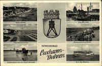Nordseebad Cuxhaven Duhnen AK 1958 ua. Schiff MS MOLSEN, Kugelbake Alte Liebe