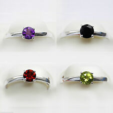 Solitaire Round Not Enhanced Amethyst Fine Rings