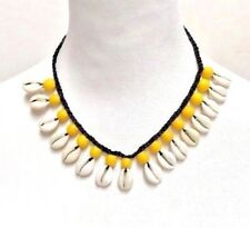 Cowrie Shell Necklace Choker Surfer Boho Festival - Yellow Beads