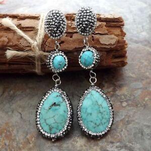 Rhinestone Pave Teardrop Turquoise Macarsite stud Earrings