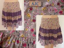 AJC Rock Mini romantik A-Linie Volants Falten Spitze lila geblümt XS 34 1A