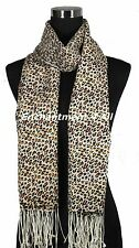 Stunning Handmade 2-Ply 100% Cashmere Pashmina LEOPARD Shawl Wrap, Brown/Yellow