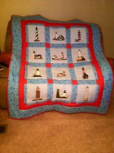 Hand made machine embroidered Lighthouse quilt
