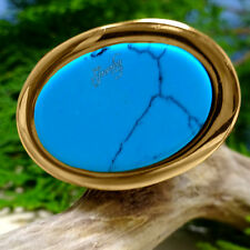 Chunky Turquoise Gold Stainless Steel Ring