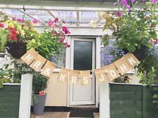 Mr & Mrs Personalised Jute Burlap Hessian Rustic Vintage Wedding Banner Bunting