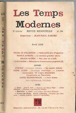 Les TEMPS MODERNES Ghelderode Jeanson Algren Dalmas Étiemble Auger 1950 N°54 EO