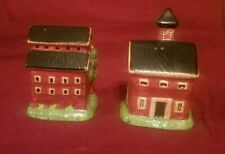 Vtg Warren Kimble for Sakura Salt & Pepper Shakers Barn House Village Buildings
