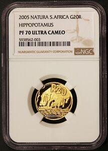 2005 South Africa 20 Rand Natura Hippopotamus 1/4 oz .999 Gold Coin - NGC PF 70