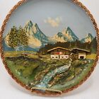 Innsbruck Austria 3D Painted And Carved Wooden Hanging Plate Mountains/House