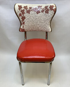 Red Retro Dining Chair Maple Leafs Chrome Vinyl Vintage 50's Diner Style Seat