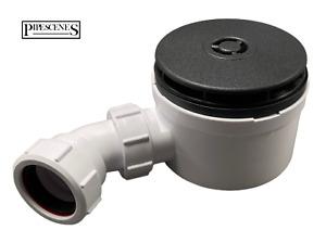 McALPINE Black Shower Waste Drain Trap 90mm Waste with 110mm Black Top