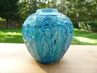Antique Chinese Late 19th Century Turquoise Glazed Hexagon Shiwan Martaban Jar