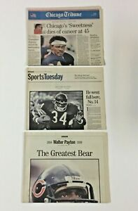 Lot (3) Chicago Tribune Newspaper Sections 1999 Chicago Bears Walter Payton DEAD