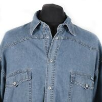 Vintage JEANAGERS Denim Popper Shirt | Cowboy Western Retro Snap Jean Wash