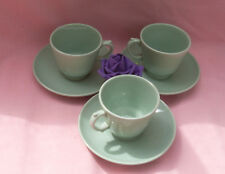 3  x  WOODS WARE -  BERYL -  GREEN  -  COFFEE CUPS & SAUCERS  - WWII