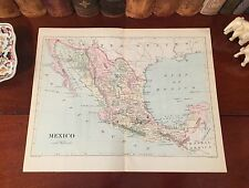 Original 1892 Antique Map MEXICO Acapulco Vera Cruz Manzanillo Yucatan Durango