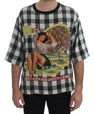 NEW $580 DOLCE & GABBANA T-shirt Crewneck PRODOTTO SICILIANO Print Silk IT44 /XS