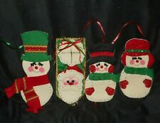 3 VINTAGE CHRISTMAS FELT SNOWMAN WALL DECORATION & 1 SANTA CLAUS DOOR HANGER