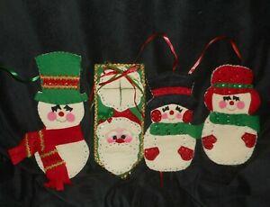 3 VINTAGE CHRISTMAS FELT SNOWMAN WALL DECORATION & 1 SANTA CLAUS DOOR HANGER