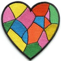 Patchwork heart embroidery crafting embroidered applique iron-on patch S-1595