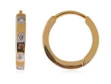0.08 Carats Round Brilliant Cut Diamonds Hoop Earrings In Fine Hallmark 18K Gold