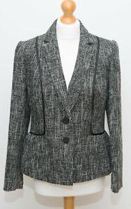 Soon Tweed Grey Peplum Blazer Jacket Size 12 Lined