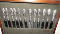 STIEFF ROSE STERLING SILVER FLATWARE SERVICE FOR 12/CHERRY WOOD CABINET