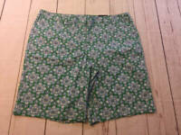 NWT Womens Lands End Mid Rise Bermuda Shorts Blue Green Floral Plus Size 18W