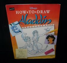 DISNEY'S HOW TO DRAW ALADDIN JASMINE ABU STENCIL ART CARTOON BOOK WALTER FOSTER