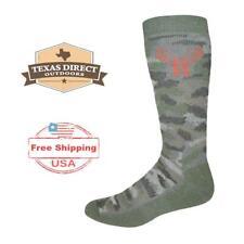 Huntworth Merino Wool Blend Hunting Outdoors Socks [5 PAIRS] Camo  (Large 9-13)