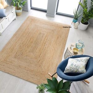 Rug 100% Natural Jute handmade Reversible Area Carpet rug home decor outdoor rug