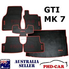 VW Golf GTI  MK7 All weather Rubber floor mats+cargo tray/boot liner set RedTrim