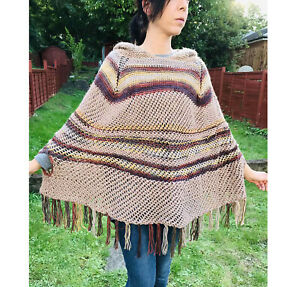 Brown hooded poncho /autumn colors hand crochet poncho