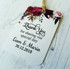 Personalised Wedding Tags Boho Gift Tags Thank You For Sharing Our Special Day