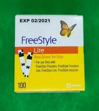 FREESTYLE LITE TEST STRIPS 100 COUNT EXP 02/2021 NEW SEALED FREE SHIP SEE REVIEW
