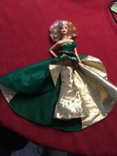 Mattell 2011 Holiday Barbie Collectible Doll Green Gold Dress
