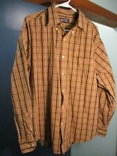 L brown PLAID BUTTON UP POCKET CASUAL shirt by PURITAN