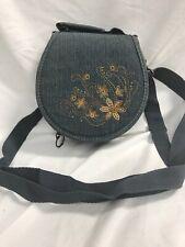 Cd Dvd Storage Purse Denim Crossbody Bag 24 Disc Holder Embroidered Floral