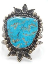 Huge TURQUOISE Handmade Bracelet Cuff HIGH END Sterling Silver 925 Old Pawn