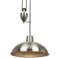 Hanging Ceiling Pendant Light–ADJUSTABLE HEIGHT–Industrial Nickel Rise Fall/Drop